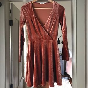 Stretch Velvet Long Sleeve Urban Outfitters Dress